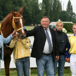 The Winning Ring: Věra Toušková, Irish Queen, František Holčák, jockey Kousek with girlfriend and Daniel Toušek